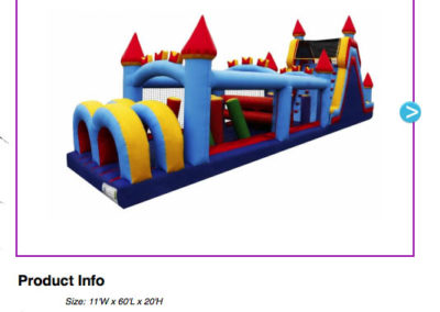 60' Castle Obstacle Course $300