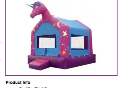 Unicorn Bounce House $75